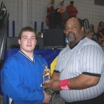 Tom Broad Overachiever award: Ryan Harnden, Grand Island 285, with President Herman Wooten